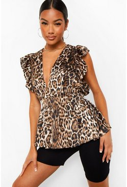 Brown Leopard Satin Peplum Top