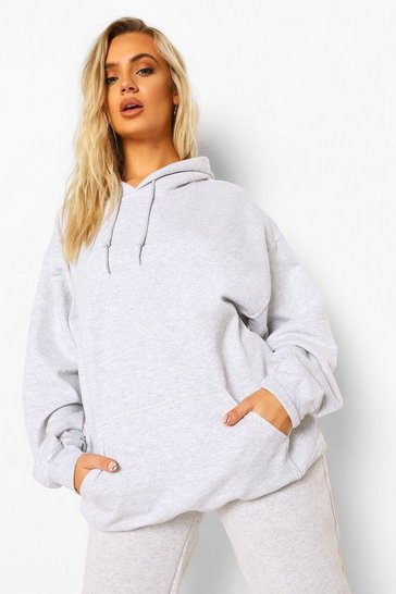 Light grey grey Ash Grey Oversized Hoodie