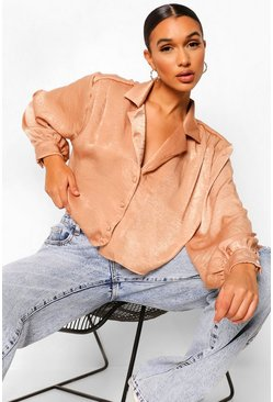 Taupe beige Hammered Satin Boxy Oversized Shirt