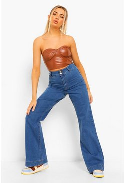 Mid blue blue Basic Fitted Denim Flared Jeans
