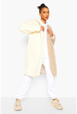 Cream white Colourblock Teddy Faux Fur Coat