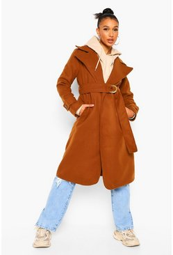 Belted Wool Look Trench Coat, Caramel beige