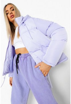Lilac Hooded Pocket Detail Puffer Jacket