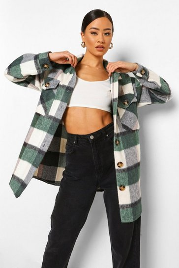 Green Oversized Check Shacket