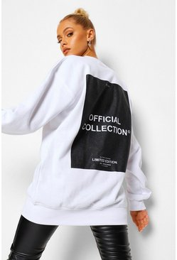 White Back Print Oversized Sweatshirt