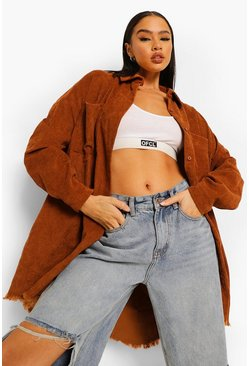 Brown Jumbo Cord Frayed Hem Oversized Shirt