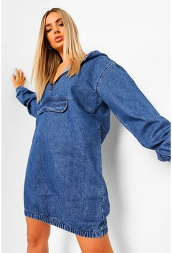 Indigo blue Hooded Denim Front Pocket Dress
