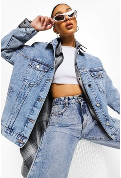 Mid blue blue Vintage Wash Pocket Oversized Denim Jacket