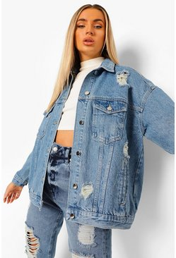 Mid blue blue Distressed Oversized Denim Jacket