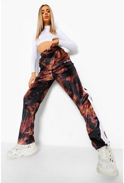 Brown Tie Dye Velour Joggers With Tape