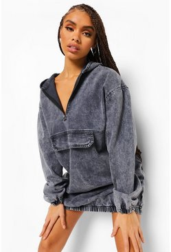 Grey Hooded Denim Front Pocket Dress