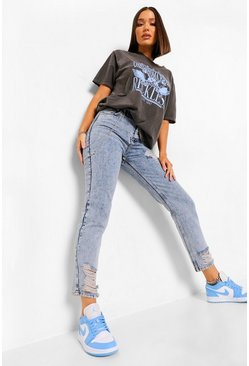 Vintage blue blue Chain Detail Distressed Mom Jeans