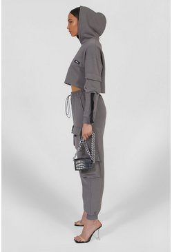 Charcoal grey Cropped Utility Hooded Tracksuit