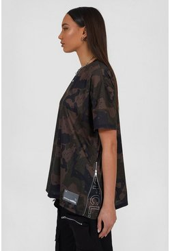 Dark grey grey Oversized Camo Utility T-Shirt