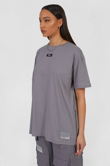 Light grey grey Grey Oversized Utility T-Shirt