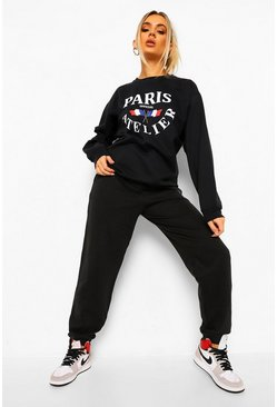 Black Paris Print Sweater Tracksuit
