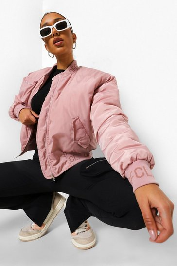 Dusky pink pink Oversized Utility Bomber With Zip Detail