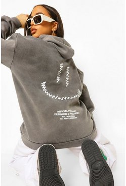 Charcoal grey Smile Back Print Acid Wash Oversized Hoodie