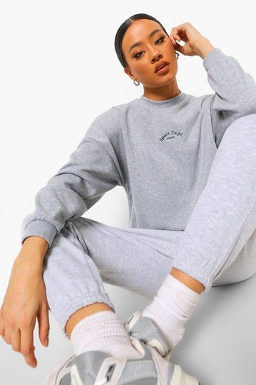 Grey marl grey Sports Slogan Embroidered Oversized Sweatshirt