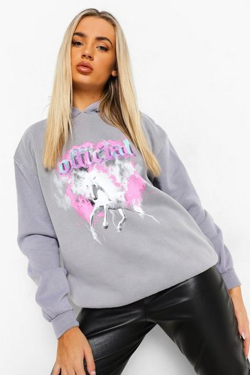 Charcoal grey Unicorn Acid Wash Oversized  Hoodie