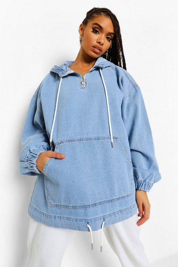 Light blue blue Hooded Denim Jacket