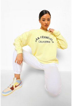 Lemon yellow San Francisco Washed Oversized  Slogan Sweatshirt