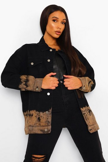 Black Tonal Tie Dye Denim Jacket