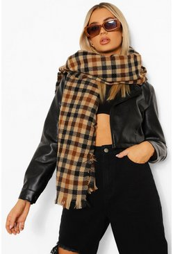 Black Heavy Weight Chunky Gingham Scarf