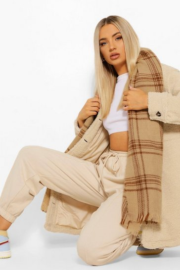 Caramel beige Heavy Weight Tonal Check Scarf