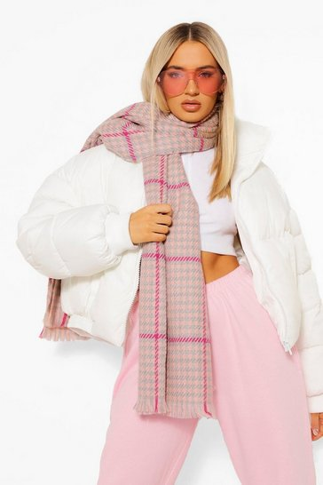 Baby pink pink Heavy Weight Pink Dog Tooth Scarf