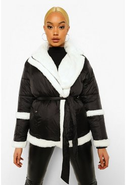 Black Faux Fur Matte Shine Belted Puffer Coat