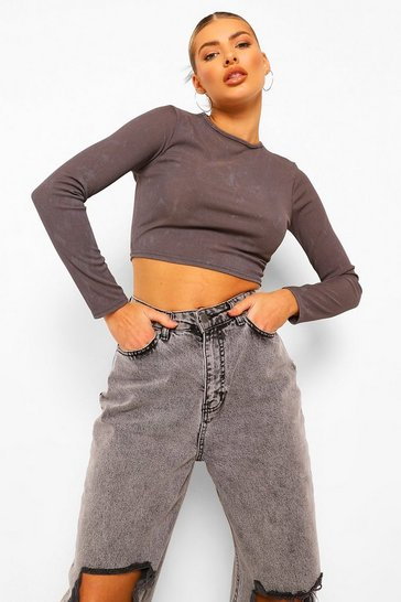 Charcoal grey Ribbed Acid Wash Long Sleeve Crop