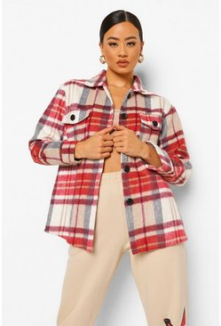 Burgundy red Check Oversized Shacket