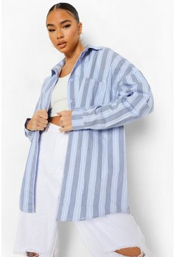 Blue Striped Oversized Shirt