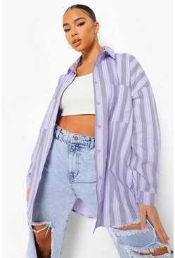 Lilac purple Oversized Gestreepte Blouse