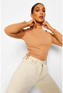 Camel beige Roll Neck Rib Ruched Side Top