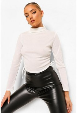 Ivory white Roll Neck Rib Ruched Side Top