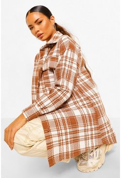 Brown Oversized Check Shacket
