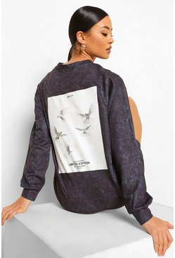 Charcoal grey Oversized Acid Wash Gebleekte Sweatshirt Jurk Met Rugopdruk