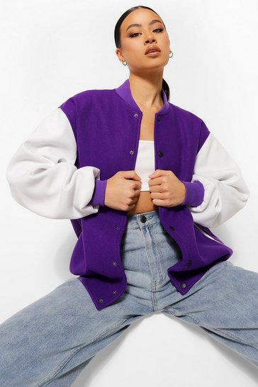 Purple Contrast Colour Block Oversized Varsity Jacket