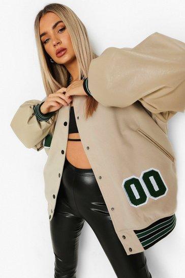 Taupe beige Pu Sleeve Oversized Varsity Jacket