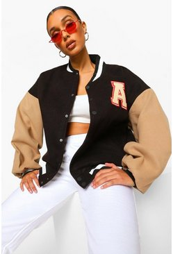 Black Patch Letter Oversized Varsity Jacket