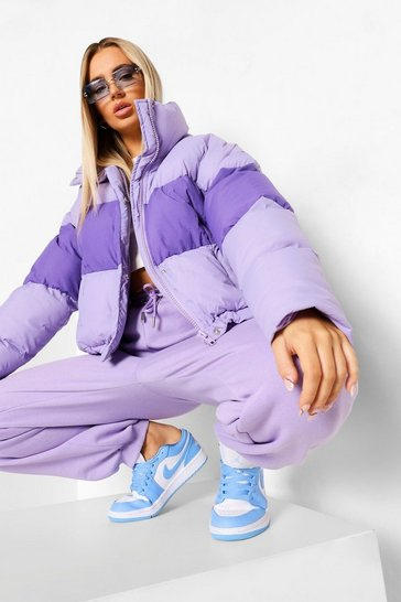 Lilac purple Colour Block Toggle Detail Puffer Coat