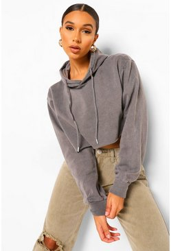 Charcoal Acid Wash Cropped Hoodie