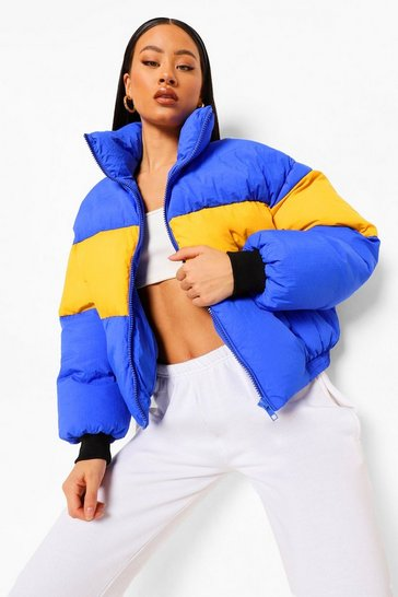 Cobalt blue Colourblock Funnel Neck Puffer Coat