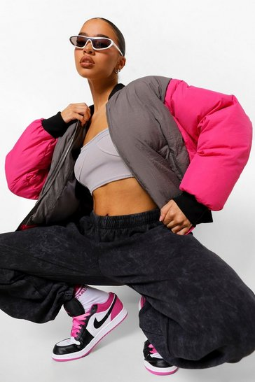 Hot pink pink Oversized Colourblock Padded Bomber Jacket