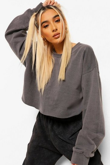 Charcoal Acid Wash Cropped Sweatshirt