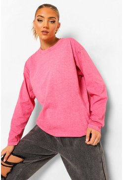 Bright pink pink Long Sleeve Acid Wash T Shirt