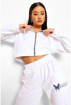 White Cropped Zip Through Hoodie
