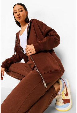 Chocolate brown Zip Front Hoodie